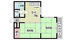 シャルム桜ヶ丘[2B号室]の間取り