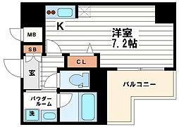 レジュールアッシュ大阪城WEST[2階]の間取り