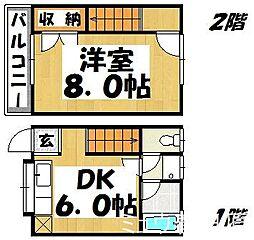 福岡県春日市若葉台西6丁目の賃貸アパートの間取り