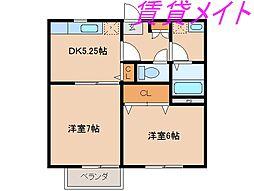 コーポMEIWA A・B[1階]の間取り