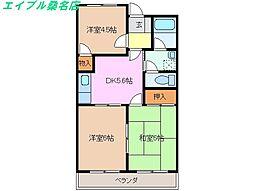 三重県桑名市長島町出口の賃貸マンションの間取り