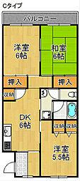 コーポ上町B棟[4階]の間取り