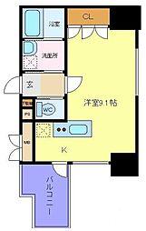 仙台市地下鉄東西線 大町西公園駅 徒歩4分の賃貸マンション 12階ワンルームの間取り