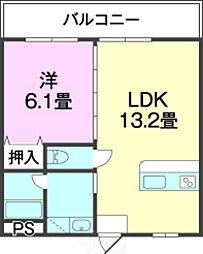 バス 結の浜下車 徒歩9分の賃貸アパート 1階1LDKの間取り