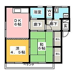 津田コーポ[1階]の間取り