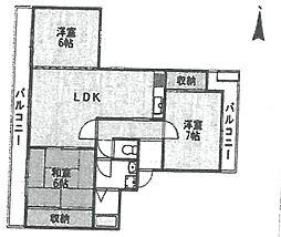クレスト武庫之荘[205号室]の間取り
