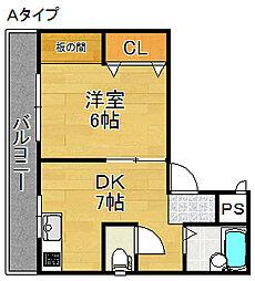 サニーハイツ(安立)[3階]の間取り