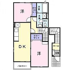 パルフェ三隈 A[2階]の間取り