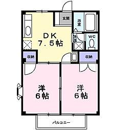 南海高野線 萩原天神駅 徒歩14分の賃貸アパート 1階2DKの間取り