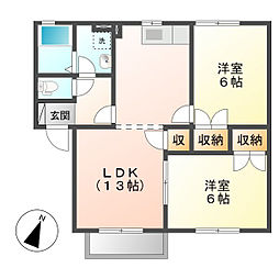 岡山県倉敷市連島3の賃貸アパートの間取り