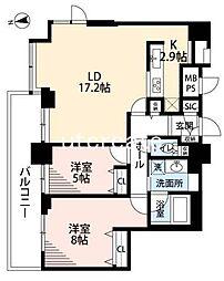 ベルファース大阪新町 22階2LDKの間取り
