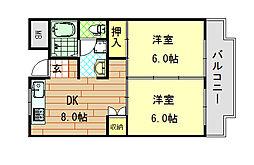 シャンポール東大阪[607号室]の間取り