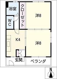 第3アラカワハイツ[3階]の間取り