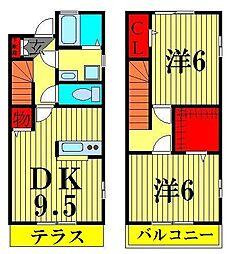 [テラスハウス] 東京都葛飾区亀有2丁目 の賃貸【東京都 / 葛飾区】の間取り