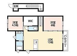 福岡県北九州市八幡西区上の原3丁目の賃貸アパートの間取り