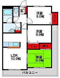 カスティール東郷 8階3LDKの間取り