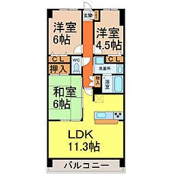 愛知県名古屋市熱田区伝馬3丁目の賃貸マンションの間取り