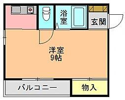 奈良県生駒郡斑鳩町阿波2丁目の賃貸マンションの間取り