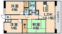 兵庫県伊丹市荻野2丁目の賃貸マンションの間取り