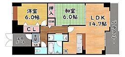 阪急神戸本線 王子公園駅 徒歩2分の賃貸マンション 6階2LDKの間取り