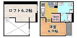 阪神本線 新在家駅 徒歩4分の賃貸アパート 1階1Kの間取り
