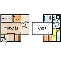 愛知県名古屋市南区豊田1丁目の賃貸アパートの間取り