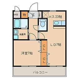 愛知県西尾市熊味町北十五夜の賃貸マンションの間取り