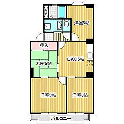 愛知県名古屋市港区小賀須4丁目の賃貸マンションの間取り