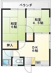 東京都世田谷区大蔵1丁目の賃貸アパートの間取り