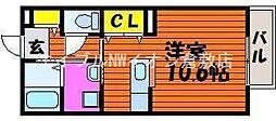 岡山県倉敷市堀南の賃貸アパートの間取り