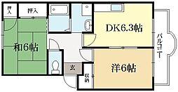 京都府京都市北区西賀茂水垣町の賃貸アパートの間取り
