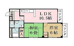 埼玉県越谷市西方2丁目の賃貸マンションの間取り
