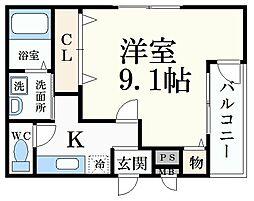 阪神本線 御影駅 徒歩7分の賃貸アパート 3階1Kの間取り
