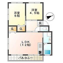 五色山ハウス[3階]の間取り