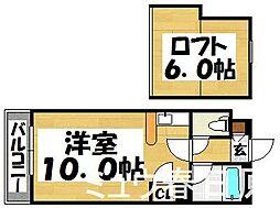 福岡県太宰府市朱雀3丁目の賃貸アパートの間取り