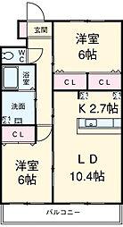 愛知県安城市東栄町5丁目の賃貸アパートの間取り