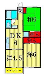 コーポみつA[3階]の間取り