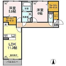(仮称)D-room中吉野[306号室]の間取り