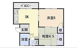 静岡県静岡市葵区上足洗1丁目の賃貸アパートの間取り