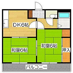 京都府京都市伏見区深草大亀谷八島町の賃貸アパートの間取り