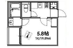 ベルメント東平賀[1階]の間取り