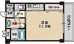 阪急千里線 千里山駅 徒歩16分の賃貸マンション 1階1Kの間取り