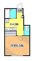 東京都小平市学園東町1の賃貸アパートの間取り