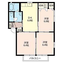 ブルーシャトーB[2階]の間取り