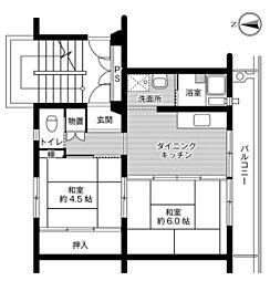 ビレッジハウス篠山1号棟 3階2DKの間取り