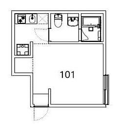 京王井の頭線 下北沢駅 徒歩7分の賃貸アパート 1階ワンルームの間取り