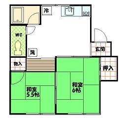 柿ノ木コーポ[2階]の間取り