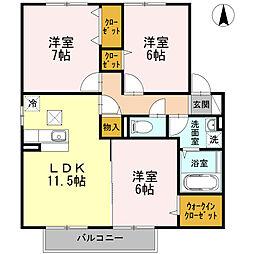 コンフォートT2[1階]の間取り