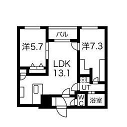 北海道札幌市中央区南20条西8丁目の賃貸マンションの間取り