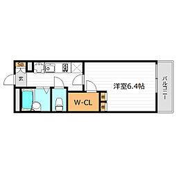 Osaka Metro谷町線 大日駅 徒歩20分の賃貸マンション 2階1Kの間取り